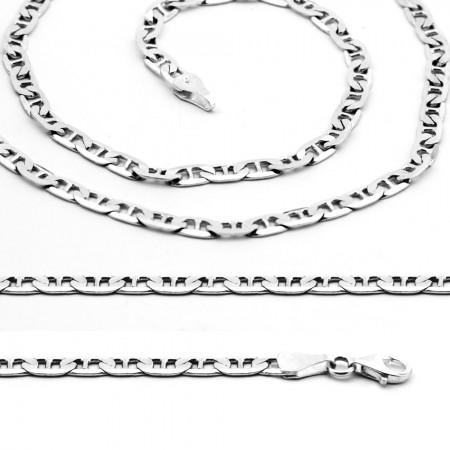 Tesbihane - 925 Ayar Gümüş 50 cm 120 Mikron Barlı Erkek Zincir Kolye