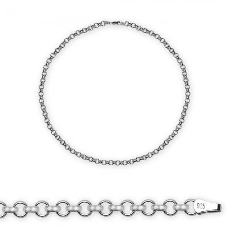 - 925 Ayar Gümüş 50cm 80 Mikron Doç Erkek Zincir Kolye