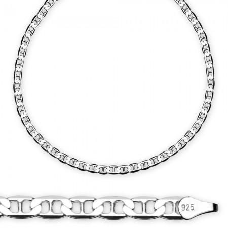 Tesbihane - 925 Ayar Gümüş 50cm Barlı Erkek Zincir Kolye