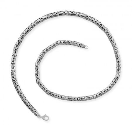 Tesbihane - 925 Ayar Gümüş 55 cm 80 Mikron Kral Zinciri Kolye