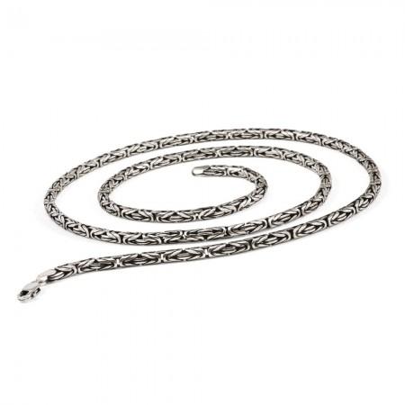 Tesbihane - 925 Ayar Gümüş 65 cm 80 Mikron Kral Zinciri Kolye