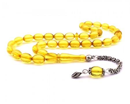 Tesbihane - 925 Ayar Gümüş Açık Sarı Renk Su Damlası Kehribar Tesbih