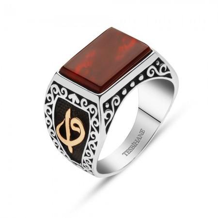 925 Ayar Gümüş Akik Taşlı Elif Vav Yüzük - Thumbnail