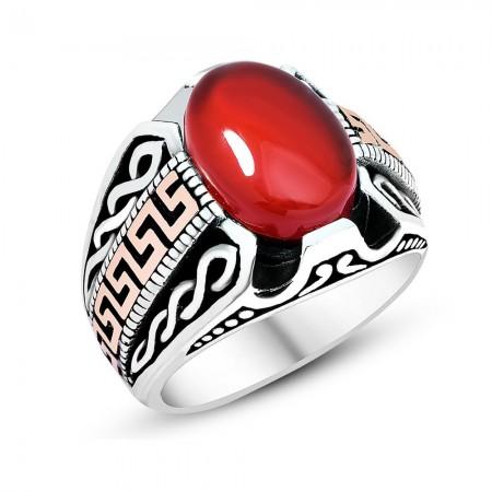 Sarmal İşlemeli Kırmızı Akik Taşlı 925 Ayar Gümüş Erkek Yüzük - Thumbnail