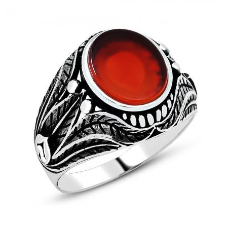 Tesbihane - Yaprak İşlemeli Kırmızı Akik Taşlı 925 Ayar Gümüş Erkek Yüzük