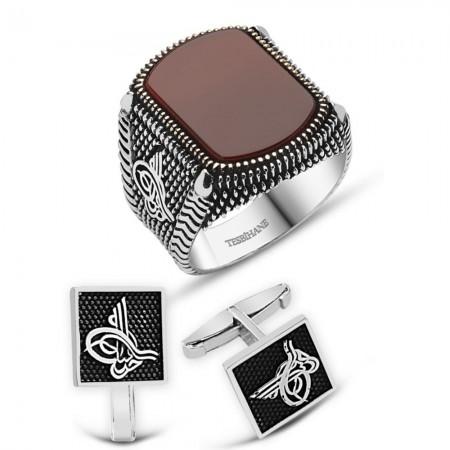 Tesbihane - 925 Ayar Gümüş Akik Taşlı Yüzük Ve Tuğralı Kol Düğme Kombini