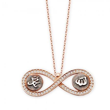 - 925 Ayar Gümüş Allah Muhammed Yazılı Sonsuzluk Kolyesi