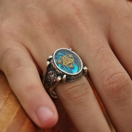 - 925 Ayar Gümüş Altın Varaklı Teşkilat-ı Mahsusa Yüzük