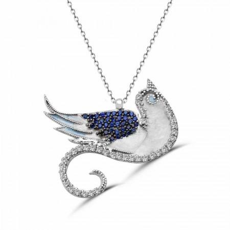 Tesbihane - 925 Ayar Gümüş Anka Kuşu Kolye