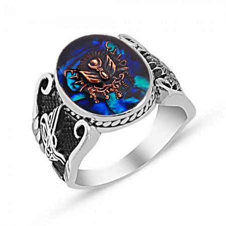 Tesbihane - Tuğra İşlemeli Arma Tasarım Mavi Sedef Taşlı 925 Ayar Gümüş Yüzük