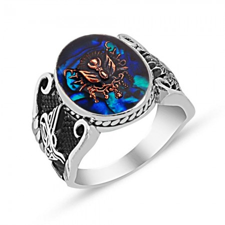 - Tuğra İşlemeli Arma Tasarım Mavi Sedef Taşlı 925 Ayar Gümüş Yüzük