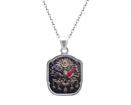 Tesbihane - 925 Ayar Gümüş Arma Desenli Kolye