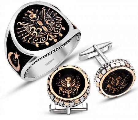 - 925 Ayar Gümüş Armalı Yüzük Kol Düğmesi Kombini