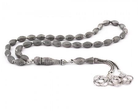 Tesbihane - 925 Ayar Gümüş Arpa Kesim Tesbih