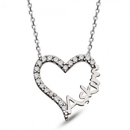 Tesbihane - 925 Ayar Gümüş Aşkım Yazılı Bayan Kolye