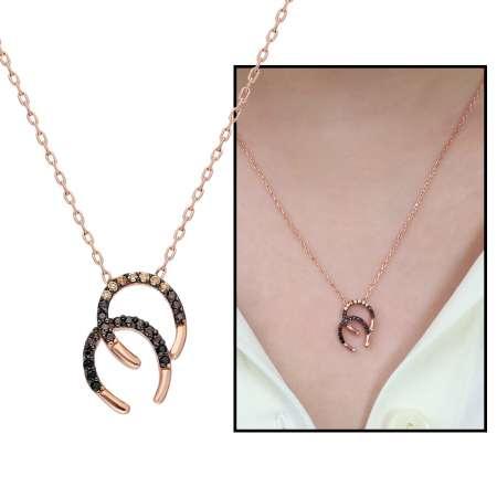 Tesbihane - Zirkon Taşlı Çift Nal Tasarım 925 Ayar Gümüş Bayan Kolye