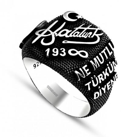 - 925 Ayar Gümüş Atatürk İmzalı-Yazılı Yüzük