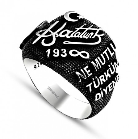 Tesbihane - 925 Ayar Gümüş Atatürk İmzalı-Yazılı Yüzük