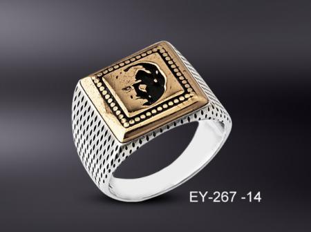 Tesbihane - 925 Ayar Gümüş Atatürk İşlemeli Kare Yüzük
