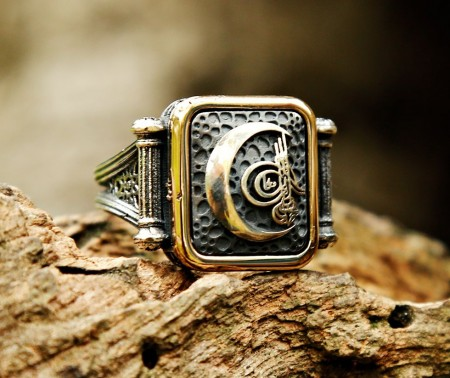 925 Ayar Gümüş Ay İçerisinde Tuğra Tasarım Yüzük - Thumbnail