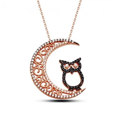 Tesbihane - 925 Ayar Gümüş Ay ve Baykuş Tasarımlı Kolye