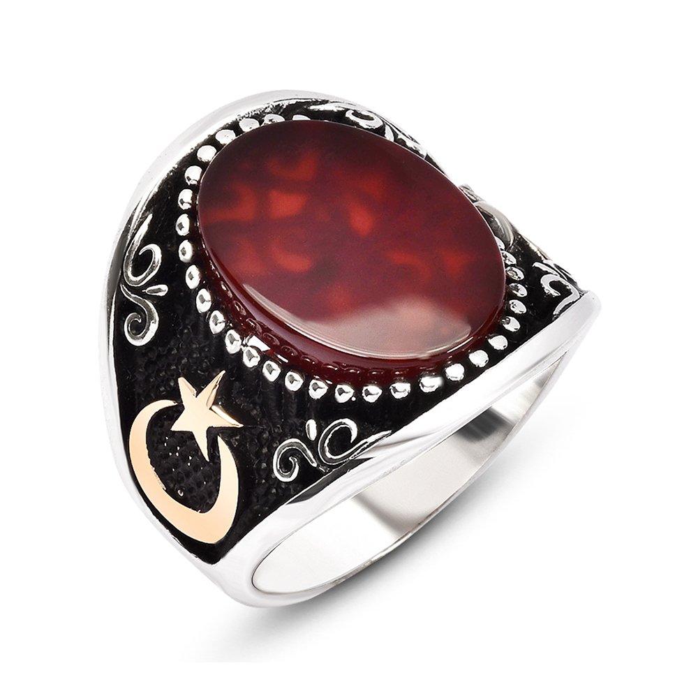 Ayyıldız İşlemeli Kırmızı Oval Akik Taşlı 925 Ayar Gümüş Erkek Yüzük