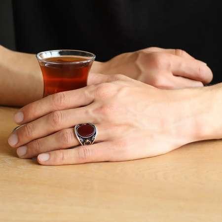 Ayyıldız İşlemeli Kırmızı Oval Akik Taşlı 925 Ayar Gümüş Erkek Yüzük - Thumbnail