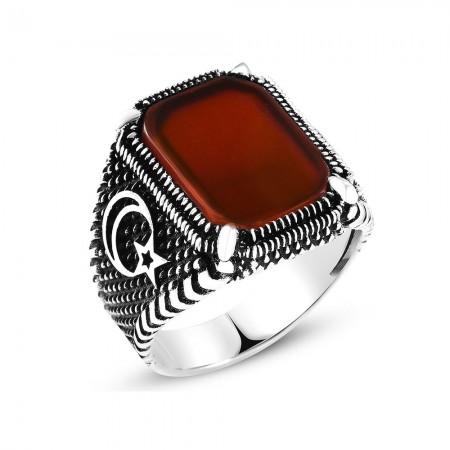 Tesbihane - Ayyıldız İşlemeli Kırmızı Dörtgen Akik Taşlı 925 Ayar Gümüş Erkek Yüzük