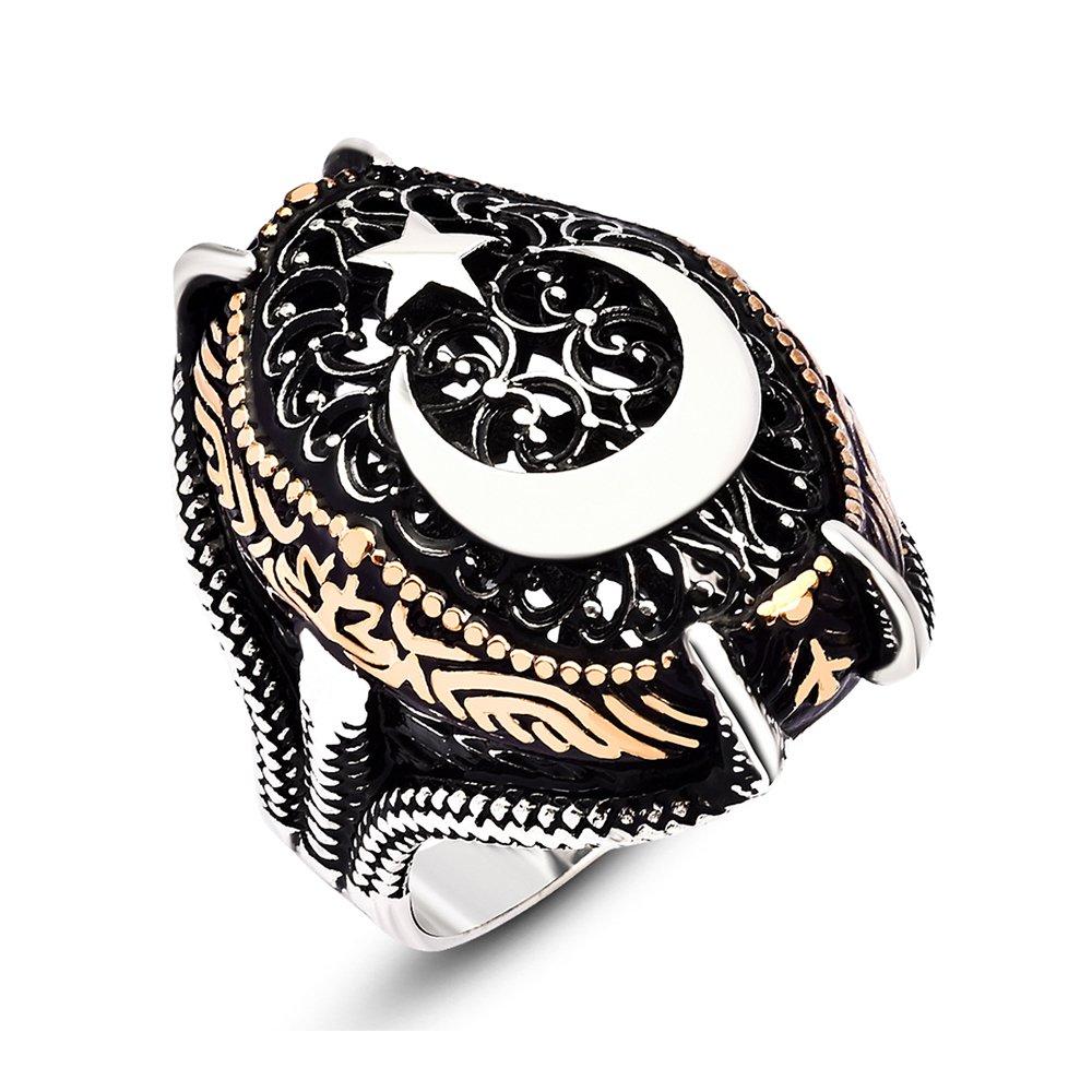 925 Ayar Gümüş Ay Yıldız Desenli Pençe Yüzük