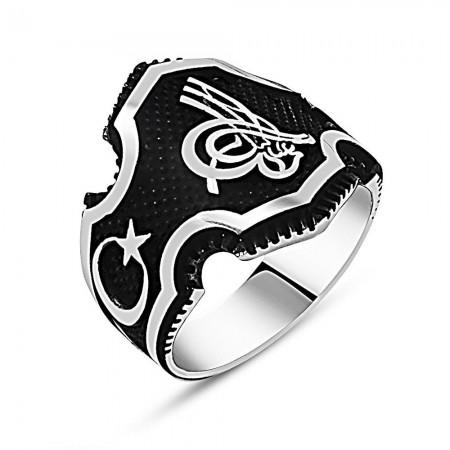 Tesbihane - Ayyıldız İşlemeli Tuğra Motifli 925 Ayar Gümüş Erkek Yüzük