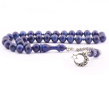 Tesbihane - 925 Ayar Gümüş Ay Yıldız Mavi Simli Sıkma Kehribar Tesbih