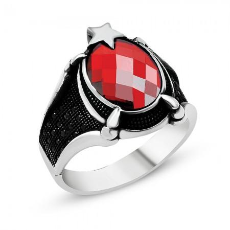 Tesbihane - Ayyıldız Motifli Pençe Tasarım Kırmızı Zirkon Taşlı 925 Ayar Gümüş Erkek Yüzük