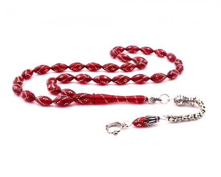 Tesbihane - 925 Ayar Gümüş Ay Yıldız Püskül Gümüş İşlemeli Kırmızı Sıkma Kehribar Tesbih