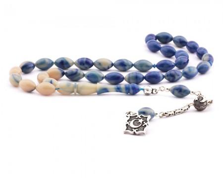 Tesbihane - 925 Ayar Gümüş Ay Yıldız Püsküllü Mavi Hareli Sıkma Kehribar Tesbih