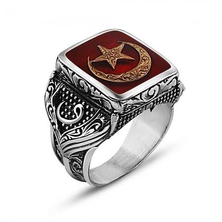 - 925 Ayar Gümüş Ay Yıldız Tasarım Maruf Yüzük