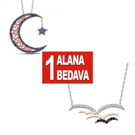 Tesbihane - 925 Ayar Gümüş Ay Yıldız ve Kuşlar Kolye