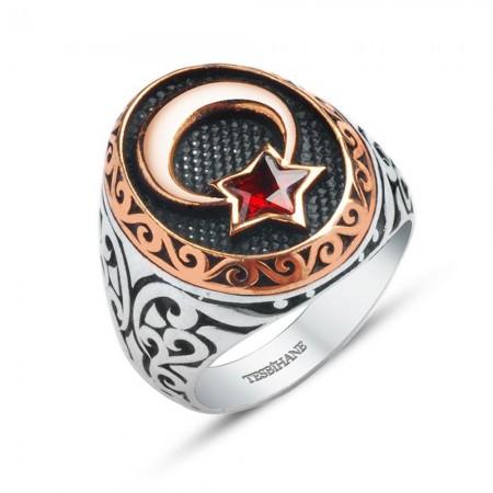 925 Ayar Gümüş Ay Yıldız Zirkon Taşlı Özel Model Yüzük - Thumbnail