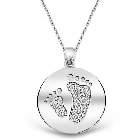 Tesbihane - 925 Ayar Gümüş Ayak İzi Kolye