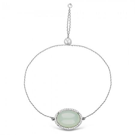 Tesbihane - 925 Ayar Gümüş Ayarlanabilen Açık Yeşil Hidro Taşlı Bileklik