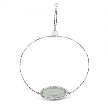 Tesbihane - 925 Ayar Gümüş Ayarlanabilen Hidro Açık Yeşik Renk Oval Model Taş Bileklik