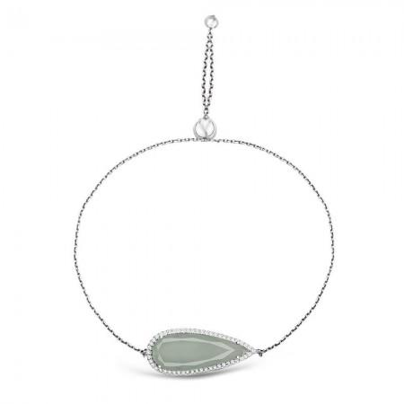Tesbihane - 925 Ayar Gümüş Ayarlanabilen Hidro Açık Yeşil Damla Model Taş Bileklik