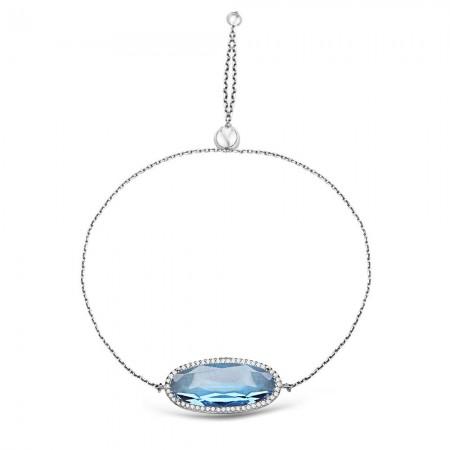 - 925 Ayar Gümüş Ayarlanabilen Hidro Aqua Mavi Renk Oval Model Taş Bileklik