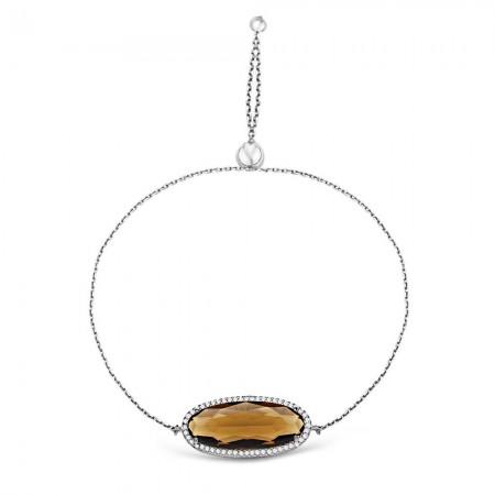 Tesbihane - 925 Ayar Gümüş Ayarlanabilen Hidro Çay Renkli Oval Model Taş Bileklik