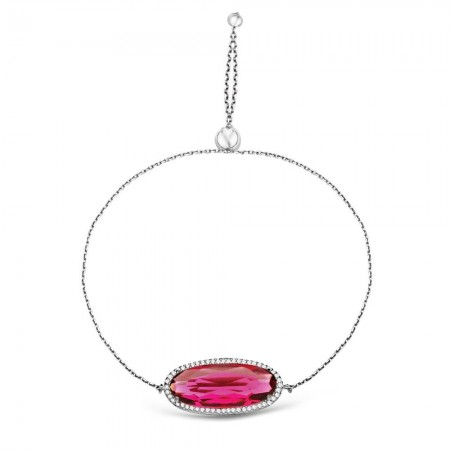 - 925 Ayar Gümüş Ayarlanabilen Hidro Kırmızı Renk Oval Model Taş Bileklik