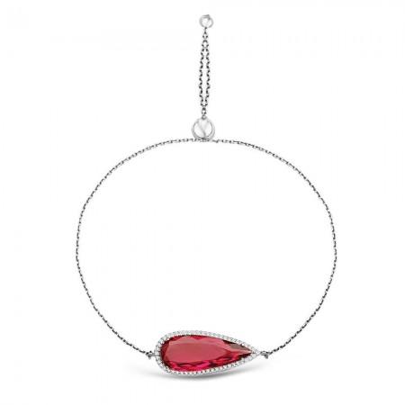 Tesbihane - 925 Ayar Gümüş Ayarlanabilen Hidro Kırmızı Renk Taş Bileklik