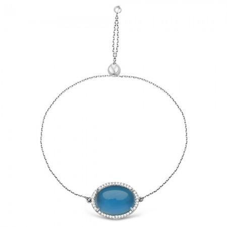 Tesbihane - 925 Ayar Gümüş Ayarlanabilen Hidro Mavi Taşlı Bileklik