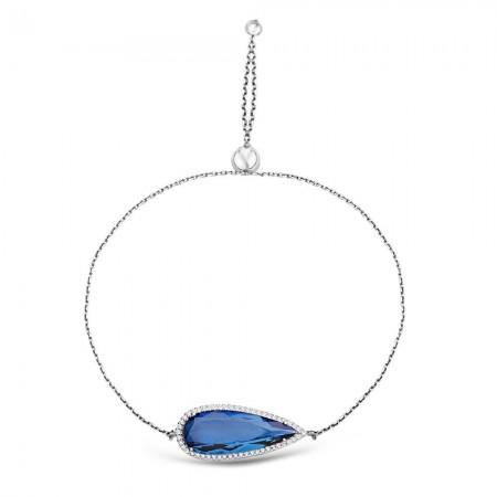 - 925 Ayar Gümüş Ayarlanabilen Hidro Safir Mavi Damla Model Taş Bileklik