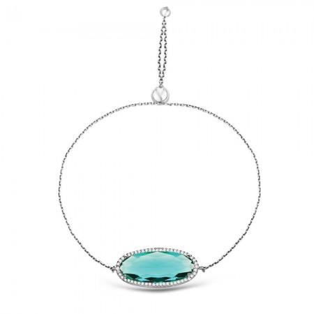 - 925 Ayar Gümüş Ayarlanabilen Hidro YeşilRenk Oval Model Taş Bileklik