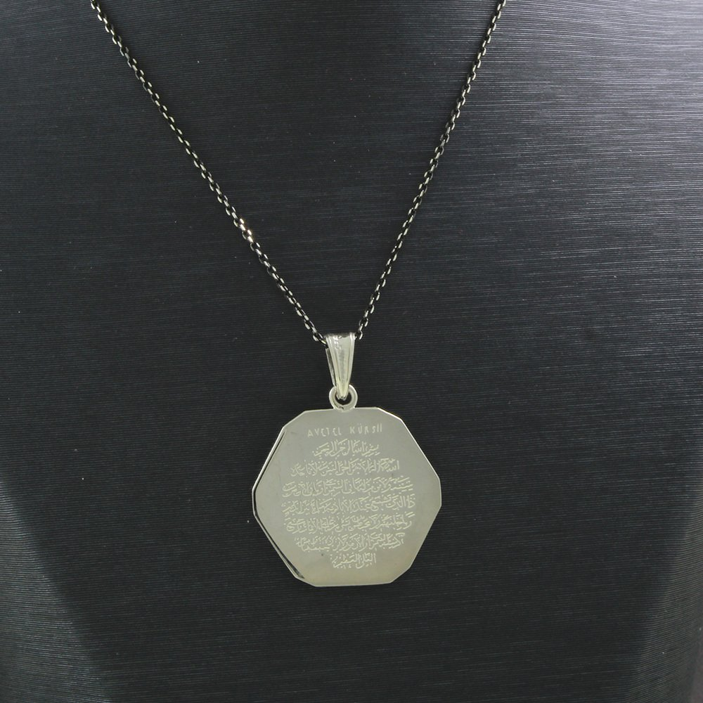 925 Ayar Gümüş Ayetel Kürsi Yazılı Çift Taraflı Bayan Kolye (Model-86)