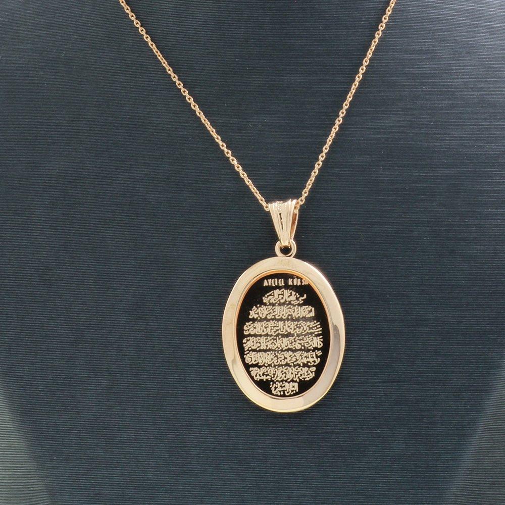 925 Ayar Gümüş Ayetel Kürsi Yazılı Çift Taraflı Bayan Kolye (Model-89)